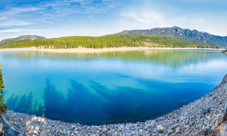 Panorama of Hyalite Reservoir in Hyalite Canyon near Bozeman, Montana
