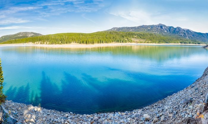 Panorama of Hyalite Reservoir in Hyalite Canyon near Bozeman, Montana