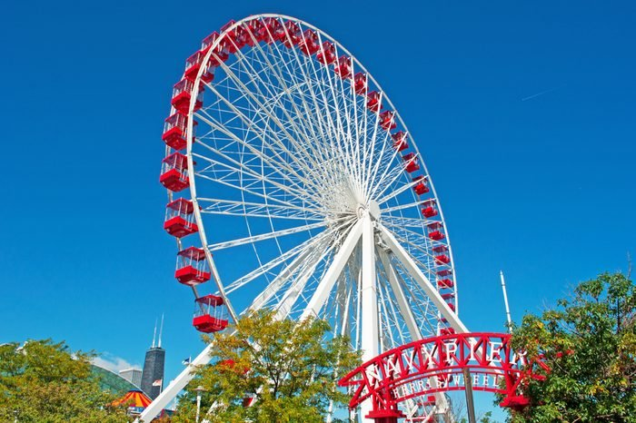 Chicago, Illinois: view of Navy Pier and Ferris Wheel on September 22, 2014. The original Ferris Wheel was constructed by George Washington Gale Ferris Jr as a landmark for the 1893 World's Fair