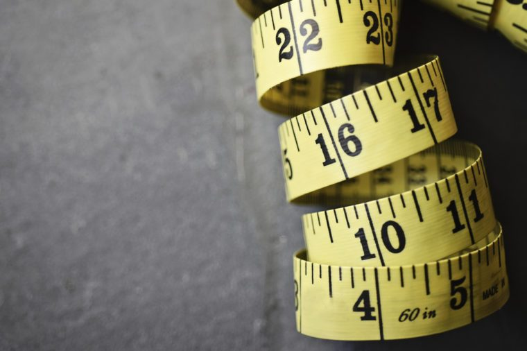 Rolled Yellow Tape Measure