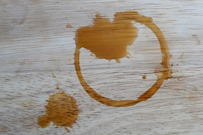 coffee stains on wooden background
