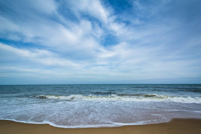 Waves in the Atlantic Ocean at Cape Henlopen State Park, in Rehoboth Beach, Delaware.
