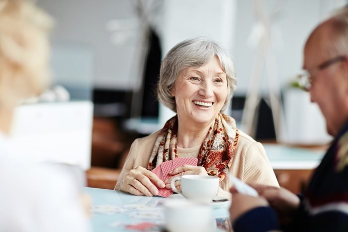 Positive granny with her friends