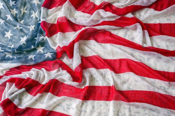 Vintage American flag,thin fabrics cloth and corrugate.