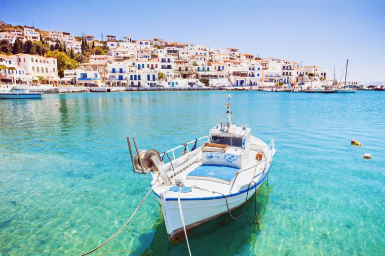 Beautiful view at Batsi village, Andros island, Cyclades, Greece