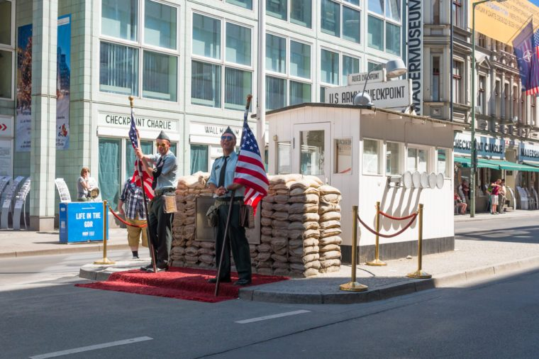 Berlin, Germany - June 6, 2016: The Checkpoint Charlie was a major roadblock, running from 1945 to 1990, linked the area of Soviet occupation with the US.