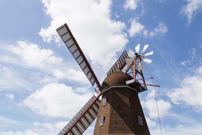 Ramloese, Denmark - June 19, 2016: Historic Danish windmill on the Danish Windmill Day 2016.