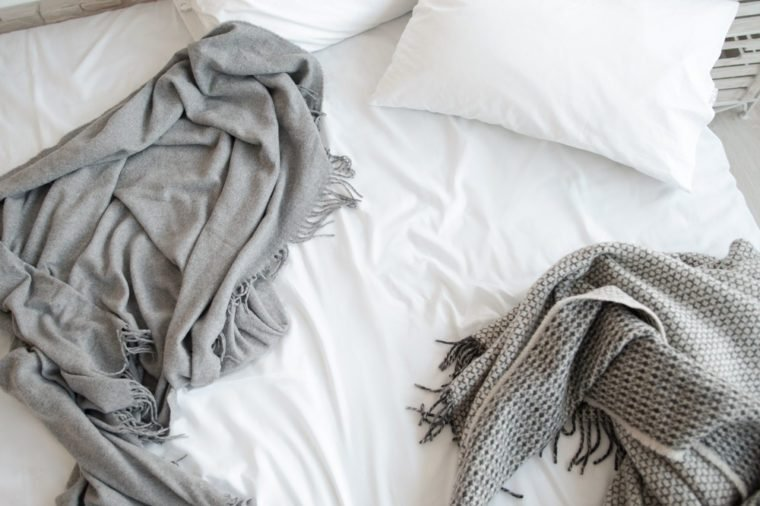 Bed Unmade Messy Bedroom Pillows White Copyspace Relax Morning Concept