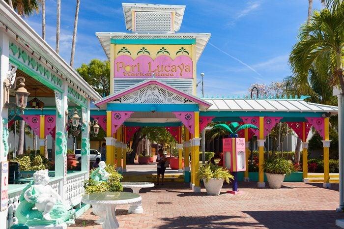 FREEPORT, BAHAMAS - 26 APRIL 2012: Sopping mall Port Lucaya marketplace. Freeport, Bahamas. Caribbean sea.