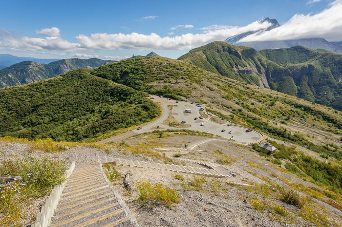 Steps down the mountainside. Nice view of the volcano crater. Mount St Helens National Park, East Part, South Cascades in Washington State, USA