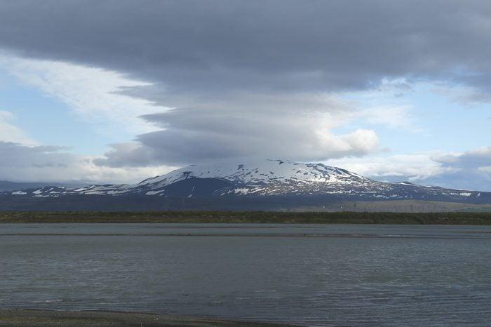 Lenticular Clouds over Mount Hekla in Iceland
