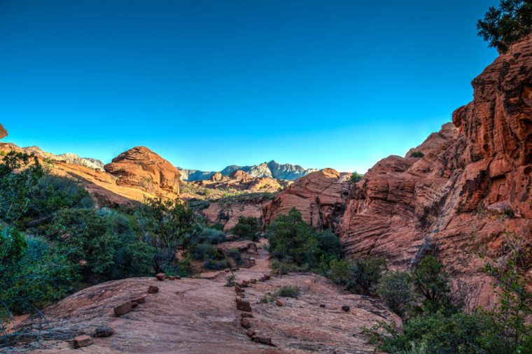 Snow Canyon State Park -Ivins -Utah. This scenic desert red rock park near St. George, has numerous hiking trails, canyons, and spectacular vistas.