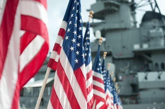 US flags at Pearl Harbor memorial