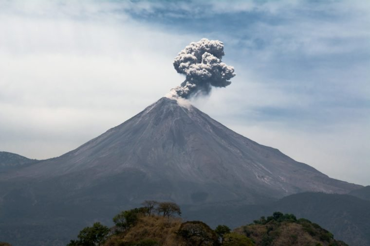 Colima Volcano Landscape throwing smoke.