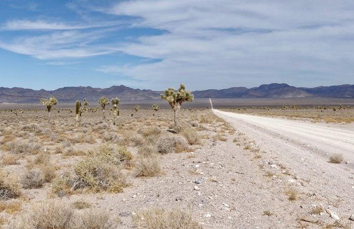 Unpaved road leading to Area 51, Nevada