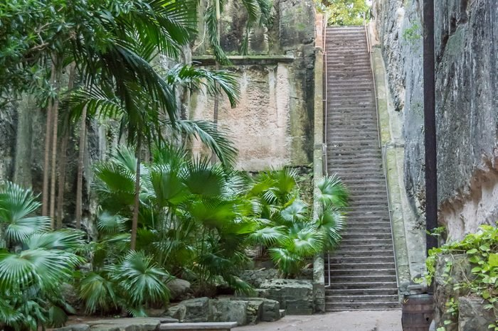 The Queen's Staircase in Nassau, Bahamas, also known as the 66 steps, a major landmark in the Fort Fincastle Historic Complex in Nassau