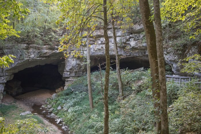 Russell Cave, ancient home to indian tribes and others for over 10,000 years, can now only be viewed from a distance as erosion has made it unsafe to enter.
