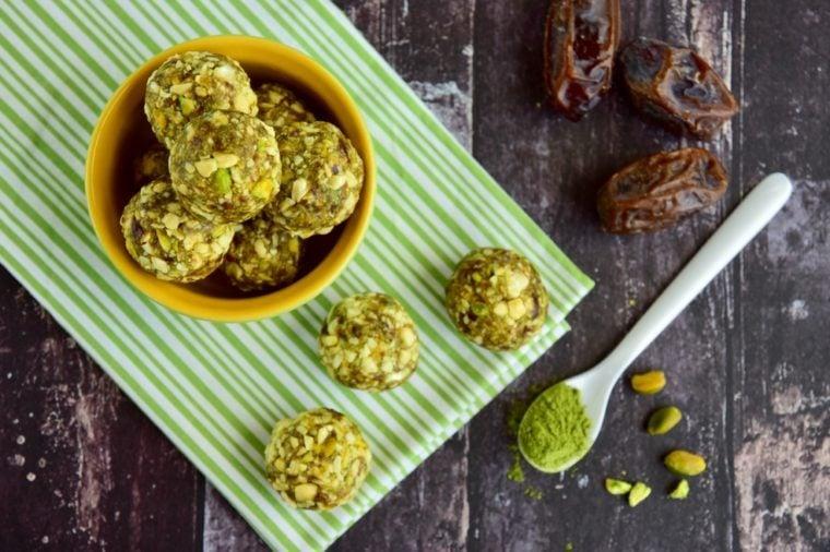 Matcha green tea date cashew coconut pistachio energy balls