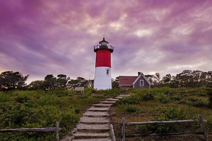 Nauset Lighthouse purple sunset in Cape Cod-Massachusetts