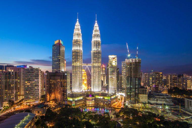 Kuala Lumpur, Malaysia - September 22, 2016: Famouse Petronas Towers at night In Kuala Lumpur, Malaysia.