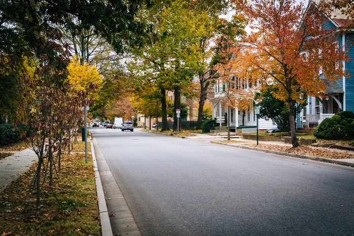 Autumn color and houses along Goldsborough Street, in Easton, Maryland.