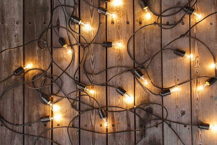 included garland expanded on the wooden floor