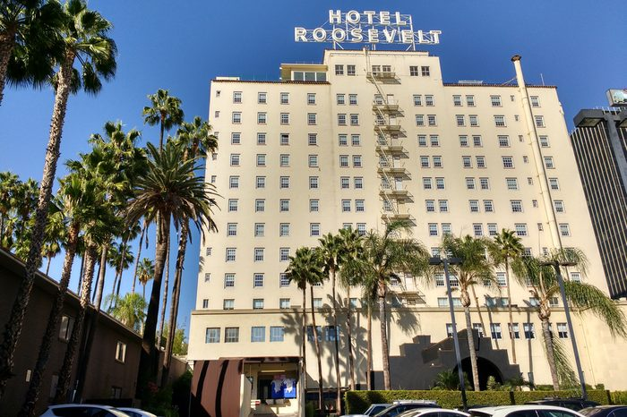 LOS ANGELES, OCT 19TH, 2016: Low angle shot of the facade of the historic Hollywood Roosevelt Hotel as seen from Hawthorn Boulevard. The first Academy Awards ceremony was held there on May 16, 1929.