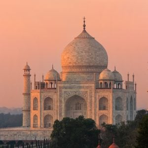View of Taj Mahal at sunset in Agra, Uttar Pradesh, India. It was build in 1632 by Emperor Shah Jahan as a memorial for his second wife Mumtaz Mahal.