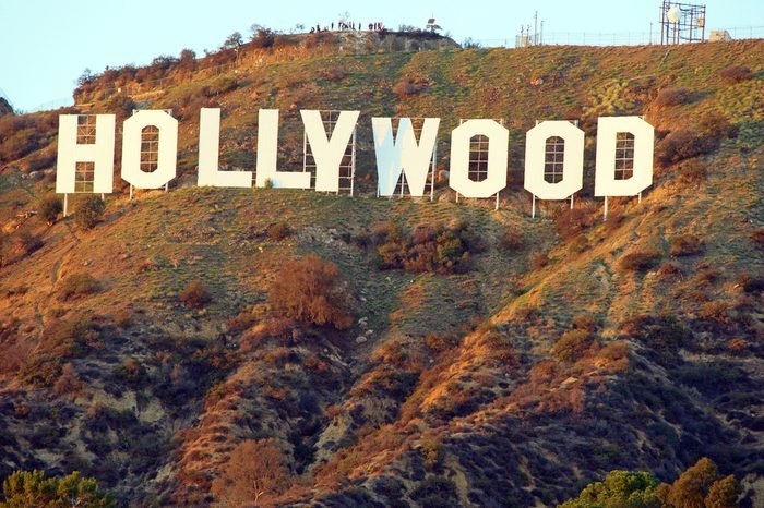 Hollywood Sign. World famous landmark and American cultural icon on Mount Lee in Hollywood Hills area of Santa Monica Mountains. Hollywood,