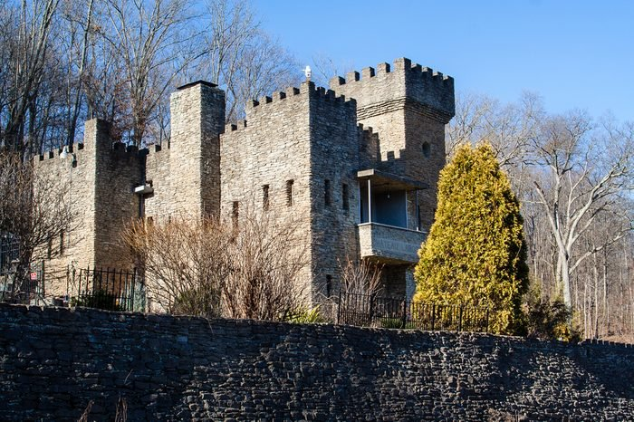A castle in Loveland Ohio during winter