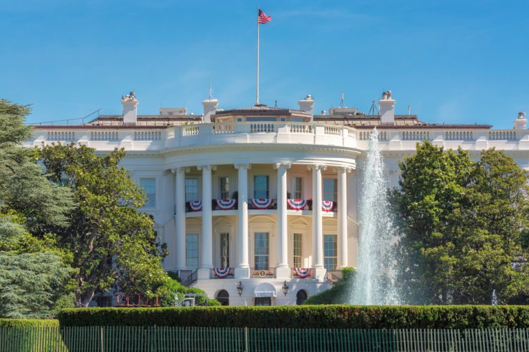 The White House in Washington DC with beautiful blue sky at summer.