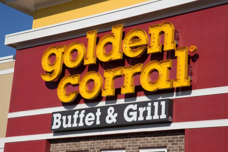 Lancaster, PA - January 15, 2017: Exterior of Golden Corral Buffet and Grill restaurant location. Golden Corral is a chain restaurant that offers an all-you-can-eat buffet at over 500 locations.