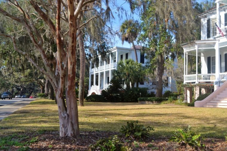Bay Street Beaufort South Carolina, lined with beautiful antebellum homes.