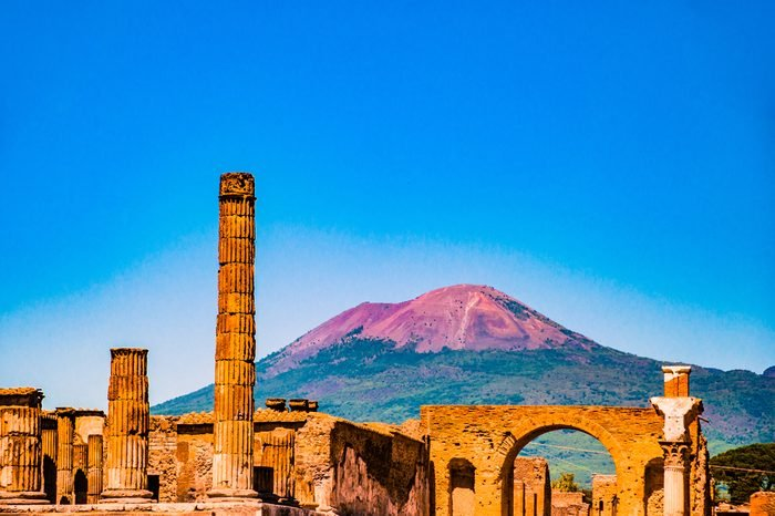 The famous antique site of Pompeii, near Naples. It was completely destroyed by the eruption of Mount Vesuvius. One of the main tourist attractions in Italy.