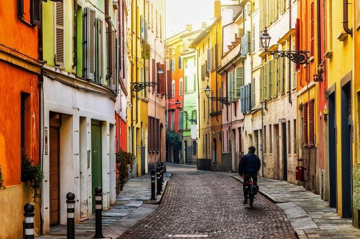 Old scenic street in Parma, Emilia-Romagna, Italy.