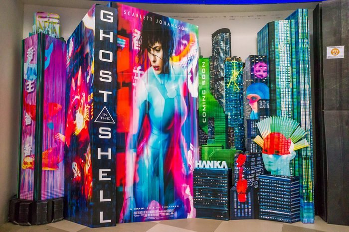 Ghost in the Shell movie poster. This movie is about a cyborg policewoman attempts to bring down a nefarious computer hacker.