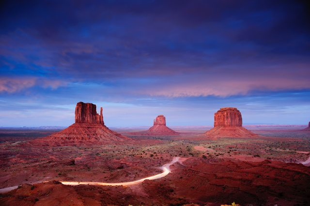 Monument Valley at dusk after sunset, Utah, USA