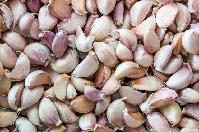 top veiw photo of fresh garlic group background