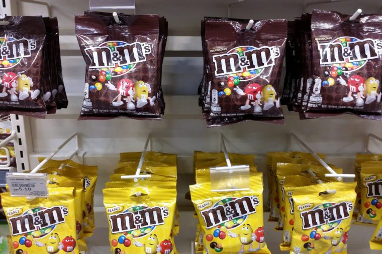 Close up view of M&M's on the supermarket shelf.