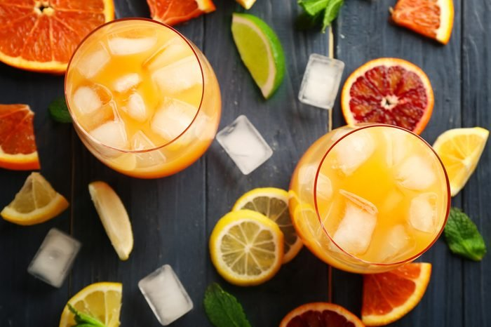Delicious tequila sunrise cocktails on table
