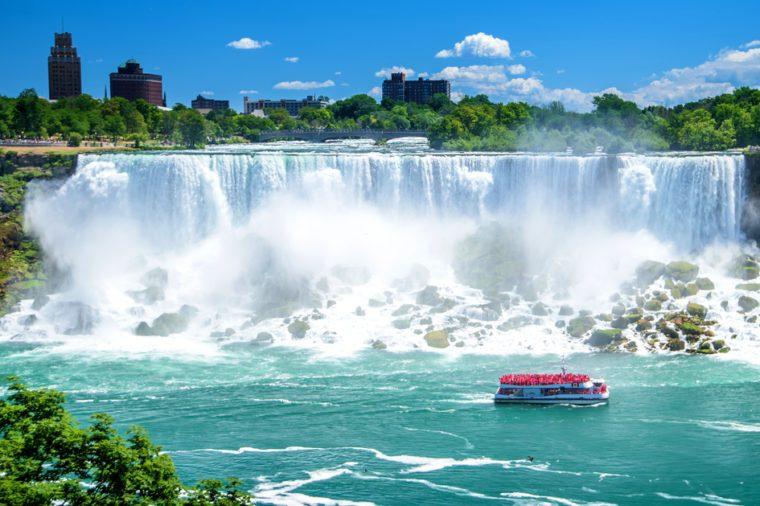 Beautiful Niagara Falls on a clear sunny day. Niagara, Canada