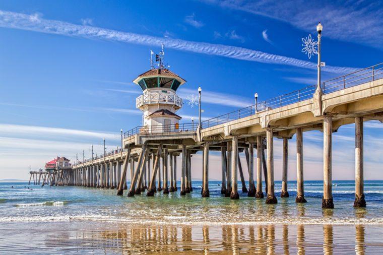 The Huntington Beach Pier in Huntington Beach, California.