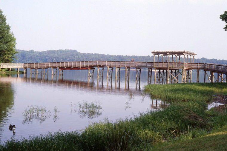Pedestrian Bridge over Lake Acworth in Georgia