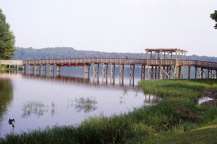 Pedestrian Bridge over Lake Acworth in Georgia