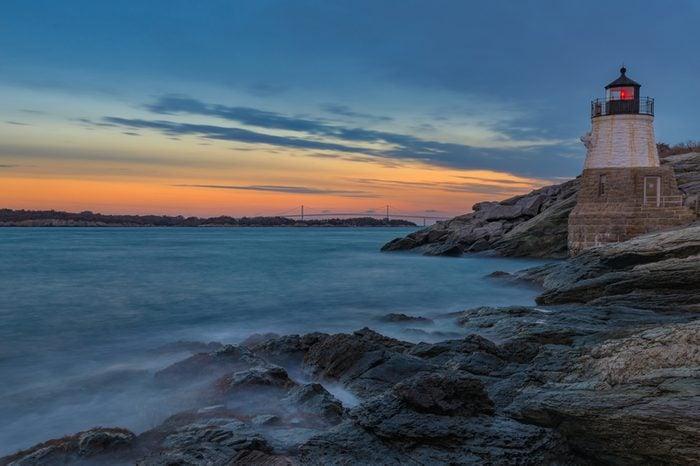 Castle Hill Lighthouse after sunset