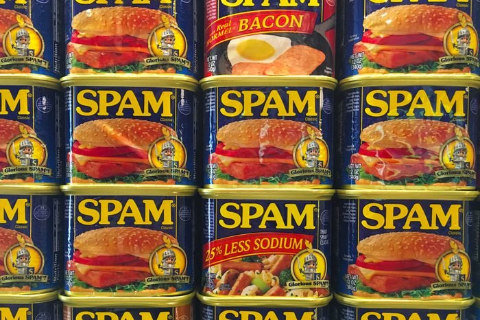spamAUSTIN, MINNESOTA - JUNE 21, 2017: A display of Spam Cans at the Spam Museum. The space is dedicated to Spam, the canned precooked meat product made by the Hormel Foods Corporation.