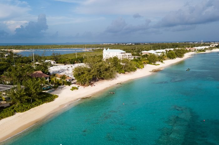 Aerial view of Grand Cayman's Seven Mile Beach in the British West Indies