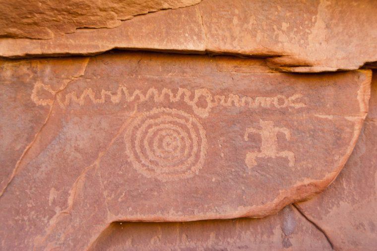 Springdale, Utah: Ancient petroglyphs adorn the sandstone walls of Petroglyph Canyon in Zion National Park.