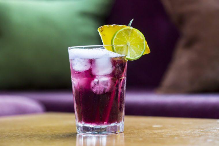 Summer purple water soda drink, Woo-woo cocktail