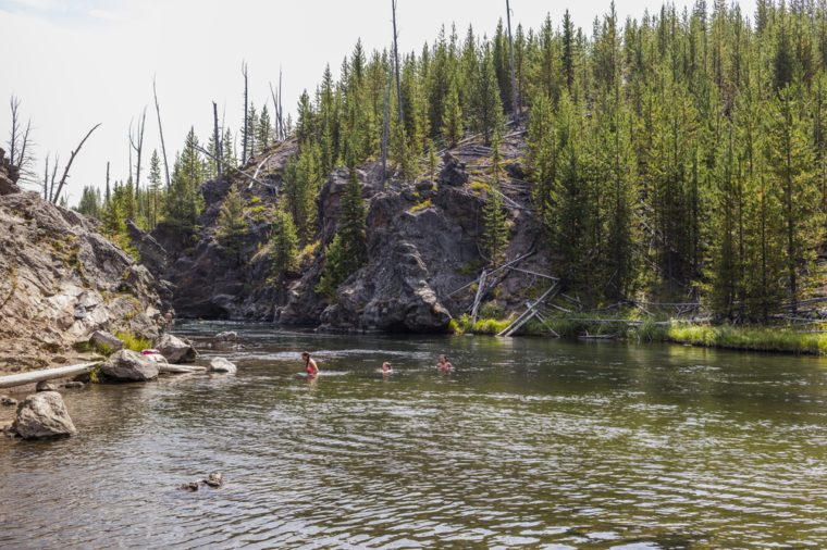 People swimming in the Firehole River.
